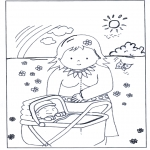 Børne-malesider - Baby in pram