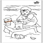 Børne-malesider - Child at the sea