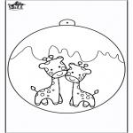 Jule-malesider - Christmas ball giraffe