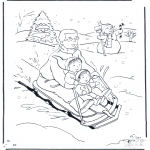 Vinter-malesider - Coloring page sledge