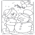 Vinter-malesider - Coloring page snow