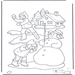 Vinter-malesider - Coloring page snowball