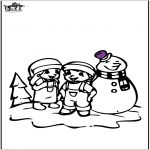 Vinter-malesider - Coloring pages Snowman 2