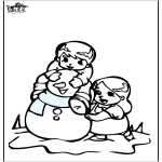 Vinter-malesider - Coloring pages Snowman 3