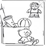 Børne-malesider - Coloringpage toys 1