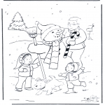 Vinter-malesider - Dad with snowman