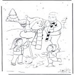 Vinter-malesider - Dad with snowman