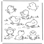 Tema-malesider - Free coloring pages easter chicken 1