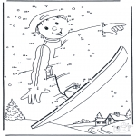 Vinter-malesider - Free coloring pages Snowboarding