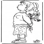 Børne-malesider - Girl with flowers