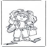Børne-malesider - Girl with mobile