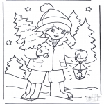 Vinter-malesider - Girl with tree