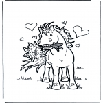 Dyre-malesider - Horse with flowers
