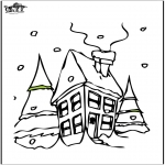 Vinter-malesider - House in the snow 2