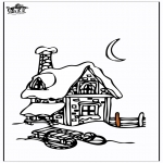 Vinter-malesider - House in the snow 3