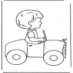 Børne-malesider - Little boy in car