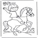 Børne-malesider - Little boy on horse