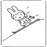 Børne-malesider - Little rabbit on ski's
