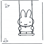Børne-malesider - Little rabbit on swing