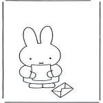 Børne-malesider - Little rabbit with letter