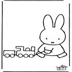 Børne-malesider - Little rabbit with train