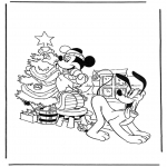 Jule-malesider - Mickey with christmastree