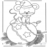 Vinter-malesider - Mouse with bauble