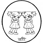 Prik-kort - Pricking card Girls