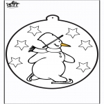 Vinter-malesider - Pricking card snowman 1