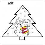 Jule-malesider - Pricking card snowman 2
