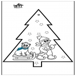Jule-malesider - Pricking card snowman 3