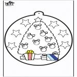 Jule-malesider - Prickingcard Christmas tree 1