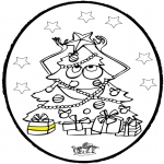 Jule-malesider - Prickingcard Christmas tree 3