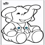 Prik-kort - Prickingcard elephant 2