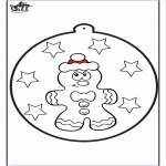 Jule-malesider - Prickingcard Gingerbread man 1