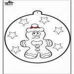 Jule-malesider - Prickingcard Gingerbread man 1