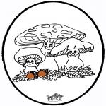 Prik-kort - Prickingcard Mushroom