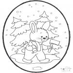 Prik-kort - Prickingcard rabbit