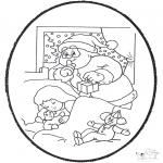 Prik-kort - Prickingcard santa