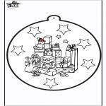 Jule-malesider - Prickingcard Xmas presents 1