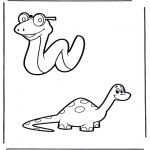Dyre-malesider - Snake and dino