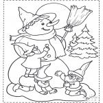 Vinter-malesider - Snowman and dwarf
