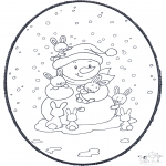 Prik-kort - Snowman prickingcard