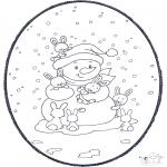 Prik-kort - Snowman prickingcard