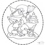 Vinter-malesider - Snowman stitching card