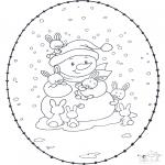 Sy-kort - Snowman stitchingcard