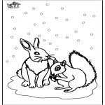 Vinter-malesider - Squirrel and rabbit