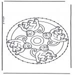 Sy-kort - Stitching animalmandala