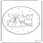 Sy-kort - Stitchingcard angel