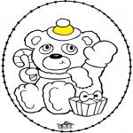 Jule-malesider - Stitchingcard Christmas bear